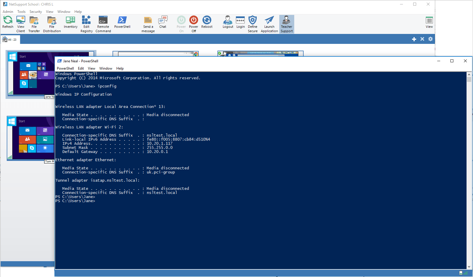 Tech Console - Launch a PowerShell window to execute PowerShell commands.