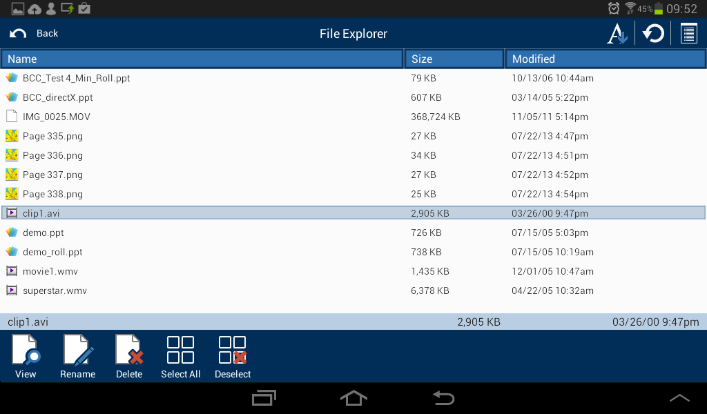 Android Student: File Transfer details view